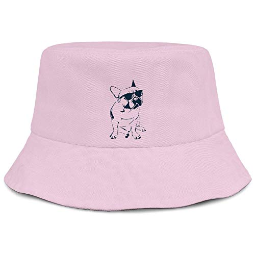 Classic Bucket Hat Frenchie French Bulldog with Sunglasses Cotton Packable Summer Sun Hat for Women Men Teens