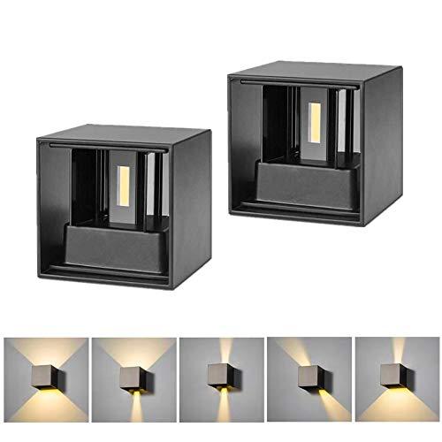 Maidodo LED Wandleuchte 6W Einstellbarer Lichtstrahl Wandlampe mit Schalter, Schwarz Wasserdicht IP65 Warmweiß 3000K, 2 Stück