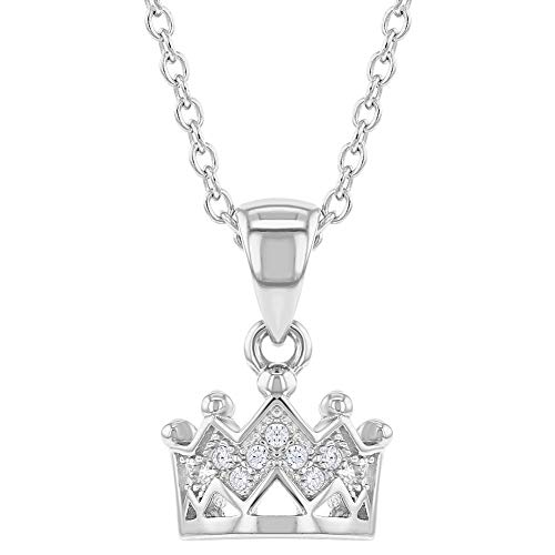 925 Sterling Silver Princess Crown Necklace Pendant Girls Kids Clear CZ 16'