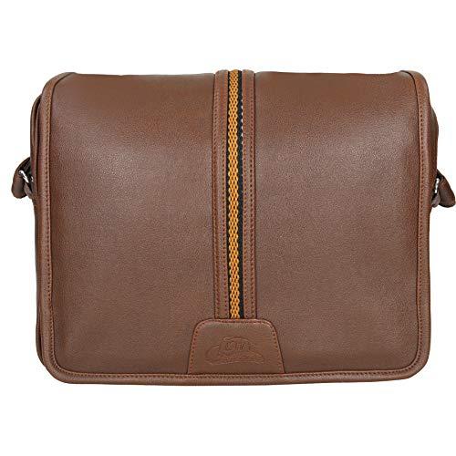 Leather World Tan 14.5 'pu cuero unisex bolso del ordenador portátil para los hombres oficina bolsa para hombres mensajero bolsa