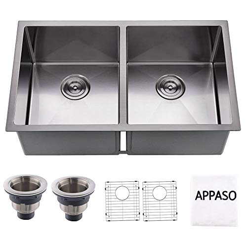 APPASO 32-inch Double Bowl Kitchen Sink, 16 Gauge Stainless Steel 10 Inch Deep Undermount 50/50 Kitchen Sink with Grid and Strainer