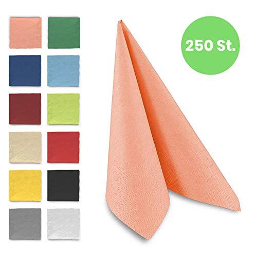 Tafel-Servietten, 3-lagig, 40 x 40 cm, Inhalt 250 St, in unterschiedliche Farben, jeweils abgestimmt auf Einrichtung & Dekoration, für Gastronomie & Zuhause, hochwertiges Materialz, apricot
