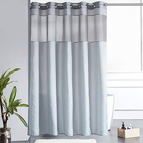 Furlinic Überlänger Duschvorhang 200x240 Badvorhang aus Stoff Wasserdicht Anti-schimmel Waschbar Grau mit Gazefenster für Dusche und Badewanne Shower Curtains Hookless.