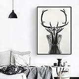 Cuadros de lienzo nórdico de modelo de mujer con cuernos blancos y negros simples, carteles e impresiones, cuadros artísticos de pared para sala de estar 60x90 CM (sin marco)