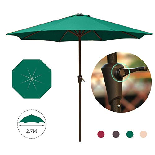ZXYY Garden umbrella 2.7m / 8.8ft UV50 umbrella + Protective umbrella Parasol Iron pole Soft polyester Parasol Parasol with crank for outdoor/Patio/Beach/Pool