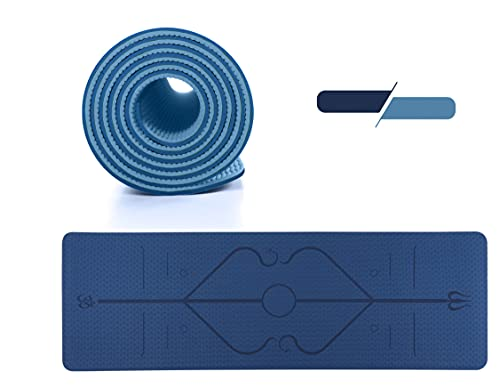 GreenBee Esterilla Yoga Antideslizante - Esterilla Deporte en Casa - Alfombra Yoga Mat Plegable - Colchoneta Gimnasia Pilates Fitness - Azul