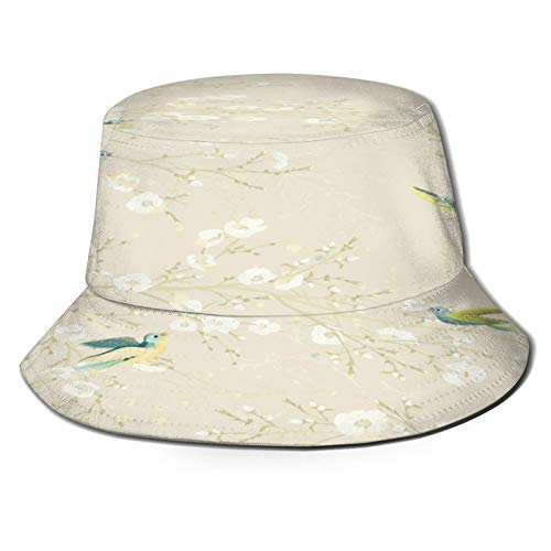 Sombrero de Pesca,Pájaros twitteando Donde se posan en Las Ramas en Flor,Senderismo para Hombres y Mujeres al Aire Libre Sombrero de Cubo Sombrero para el Sol