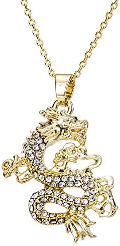 kelistom 14K Gold Plated Dragon Pendant Necklace for Women Men with Clear Zircon Filled Mascot product image