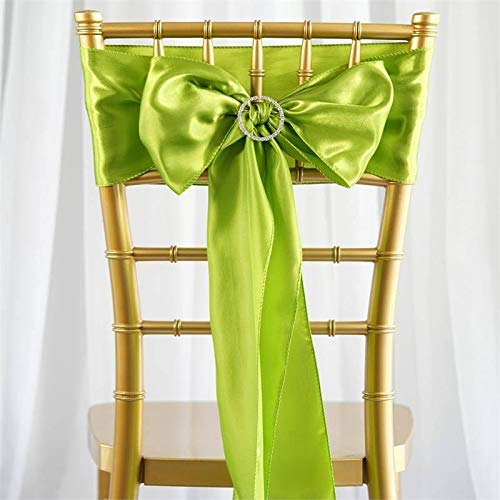 Efavormart 5pcs Sage Green Satin Chair Sashes Tie Bows for Wedding Events Decor Chair Bow Sash Party Decoration Supplies 6 x106