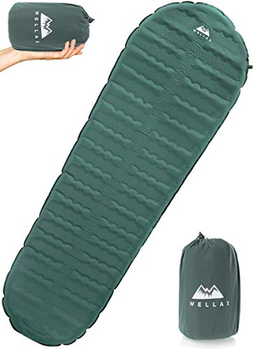 WELLAX Ultralight Self Inflating Sleeping Pad for Camping - Best Inflatable Camping Mat for Backpacking, Traveling and Hiking - Hybrid Camp Mattress with Foam Frame (Regular - 70 x 20 x 2.5 inches)