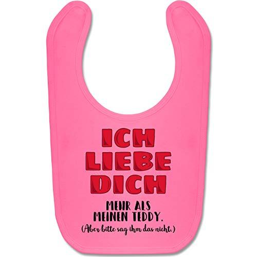 Shirtracer Sprüche Baby - Ich liebe dich mehr als meinen Teddy. - Unisize - Pink - Geschenk - BZ12 - Baby Lätzchen Baumwolle