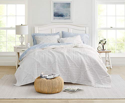 Laura Ashley Home Maisy Collection Luxus Premium Ultra Soft Quilt Cover Komfortable 3-teilige Bettwäsche Set All Season Stilvolle Tagesdecke, Full/Queen, Weiß