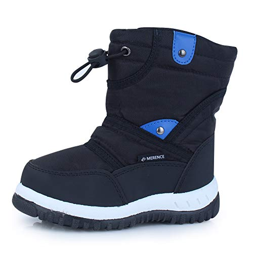 CIOR Winter Snow Boots for Boy and Girl Outdoor Waterproof with Fur Lined(Toddler/Little Kids) U118WXZ014-black-22