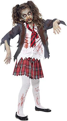 Smiffys-43025M Disfraz de Colegiala Zombi, con Falda, Chaqueta, Falsa Camisa y Corbata, Color Gris, M-Edad 7-9 años (Smiffy'S 43025M)