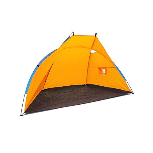 Relaxdays Abri de plage pliable dôme solaire tente de plage soleil mer avec sac de transport HBT 120 x 220 x 120 cm protection UV 80 vent sable, bleu foncé - orange