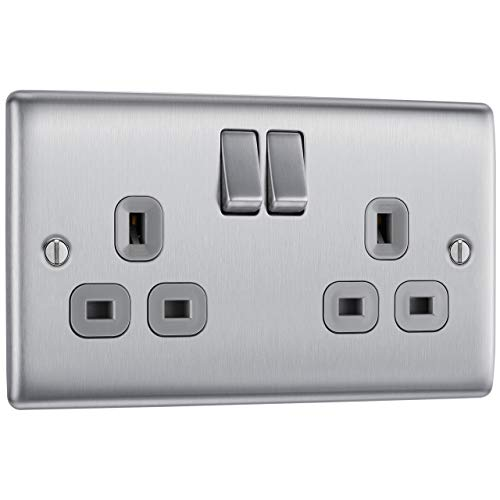 BG Electrical NBS22G-01 Double Switched Power Socket, Brushed Steel, 13 Amp