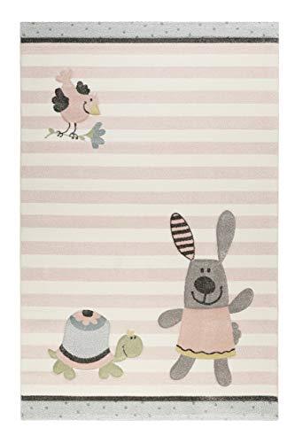 Sigikid I Moderner Kurzflor Kinderteppich, Kinderzimmer für Mädchen & Jungen I Happy Friends I SK-22427-655 I (80 x 150 cm, Rosa Grau Beige)