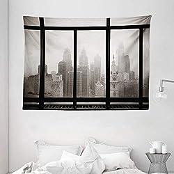 Ambesonne City Tapestry, Philadelphia City Rooftop View Through Window Skyline Landmark Rooftop Travel, Wide Wall Hanging for Bedroom Living Room Dorm, 80 X 60, Gray Black