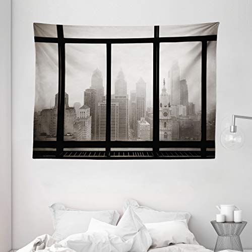 """Price comparison product image Ambesonne City Tapestry,  Philadelphia City Rooftop View Through Window Skyline Landmark Rooftop Travel,  Wide Wall Hanging for Bedroom Living Room Dorm,  80"""" X 60"""""""