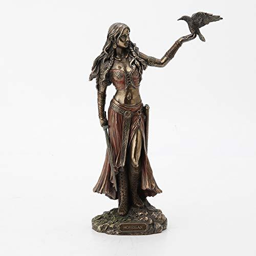 Estatuas de resina Morrigan La diosa celta de la batalla con cuervo y espada acabado bronce estatua 6.5 x 10.25 x 7.8 cm bronce