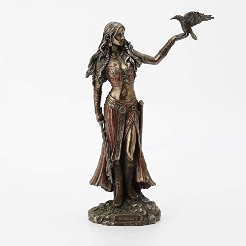 Veronese Design Morrigan The Celtic Goddess of Battle W/Crow & Sword Bronze Finish Statue 6.5 X 10.25 X 3 Inches Bronze