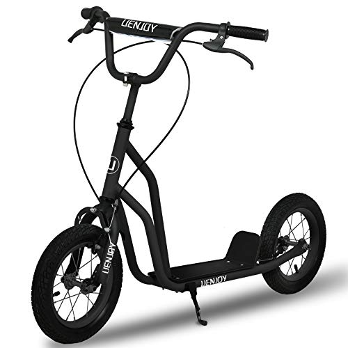 UenjoyKick Scooter Youth Kids 2 Wheel Scooter for Boys Girls, w/Front and Rear Dual Brakes, 12-Inch Inflatable Wheels, Steel Frame, Wide Standing Board, 220 LBS Capacity, Suitable for 8+ Ages, Black