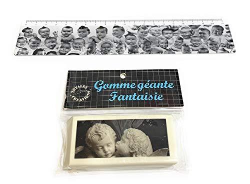 Totales Créations - Lote de una regla de plástico flexible de 20 cm para bebés + una goma gigante de 8,5 cm de ángeles.
