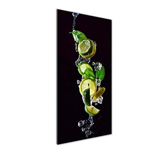 Tulup Impresión en Vidrio - 50x125cm - Cuadro sobre Vidrio - Pinturas en Vidrio - Cuadro en Vidrio - Impresiones sobre Vidrio - Cuadro de Cristal - Comidas Y Bebidas - Verde - Lima Y Limón