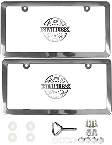 APSG License Plate Frame | Stainless Steel | Premium Slim Style | (2 Holes, Polished Mirror Finish) Set: Front + Rear