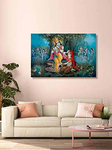 999Store Printed Radha Krishan Playing Flute and Dancing Gopis Painting Wall Art (Canvas_36X24 Inches_Multi) LP24360140
