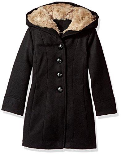 Jessica Simpson Girls' Dress Coat Jacket with Cozy Collar,Very Black,4