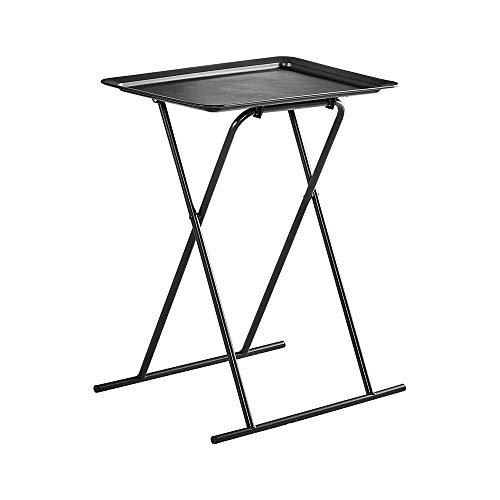 BELIFEGLORY Foldable Side Table, TV Snack Tray Table with Collapsible Metal Frame, Lightweight Portable Folding Outdoor Camping Table (Black)
