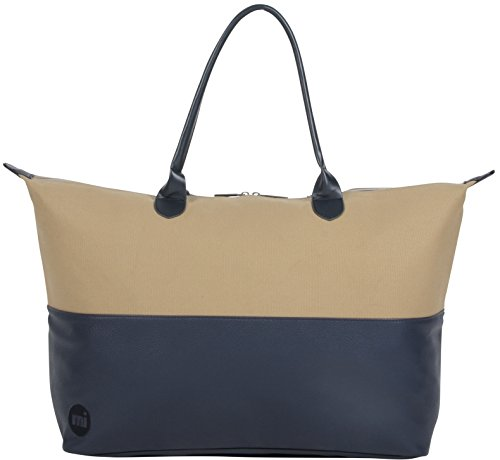 Mi-Pac Lightweight Weekender Bag,Ladies Hand Luggage Cabin Bag,Holdall Carry-On,Overnight Weekend Travel Bag,Duffel Shoulder Bag,Quality Water-Resistant Canvas & Faux Leather,50/50 Tumbled Sand Navy