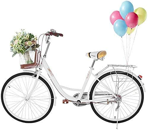 Haoo 26' Women's Cruiser Bike with Front Basket, Classic Retro Bicycles Beach Cruiser Bike w/Height-Adjustable Seat, Double Brake, Comfortable Commuter Seaside Travel Road Bike (White)