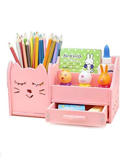 Schreibtisch-Organizer Stiftehalter rosa Stiftehalter für Kinder Desktop Schreibwaren Aufbewahrung Organizer aus Holz für Bleistift-Cads Make-up Pinsel