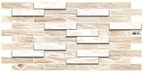 Paneles de pared de plástico de PVC 3D Azulejos decorativos revestimiento - Roble blanqueado (paquete de 10 piezas/4.7 m²)