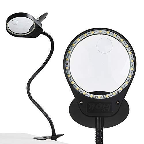 HOLULO vergrootlamp met klem en flip, 3 x 10 x led-daglicht loep tafellamp vergrootglas bureaulamp voor ambachtelijke werkzaamheden, lezen, werk, naaien, hobbys, slechtvermogen zwart