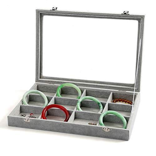 CHENGXI Bandeja De Caja De Joyería con Tapa Transparente Organizador De Almacenamiento De Exhibición De Joyería con Caja De Almacenamiento De Exhibición De Joyería De Rejilla Extraíble 12 Gris