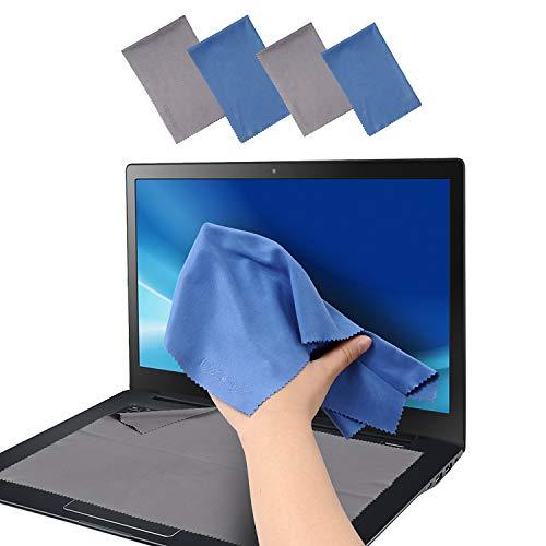 4er-Pack Mikrofaser-Reinigungstuch für Kamera, Objektiv, Glas, Handy, iPhone, iPad, Tablet, Laptop, LCD-TV, Bildschirm und andere empfindliche Oberflächen (1 x Schwarz + 1 x Blau 30,48 x 20,96cm, 1 x Schwarz + 1 x Blau 34,29 x 22,03cm)