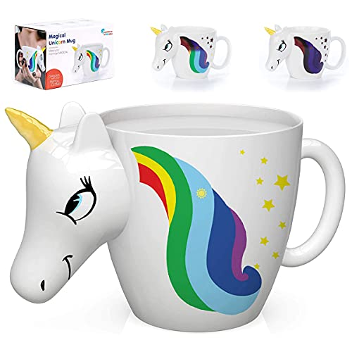 Color Changing Unicorn Mug - 3D Coffee Mugs Rainbow Design, Your morning cup of coffee or tea will never be the same! Our ceramic mugs will start your day with magic rainbows. Great Unicorns Presents!