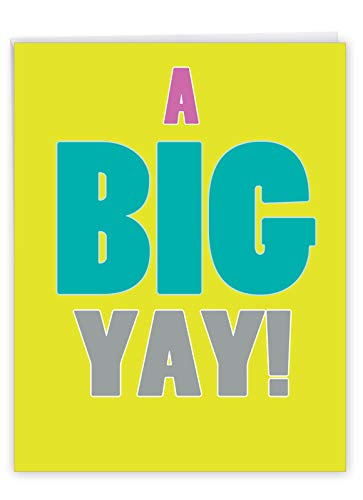 NobleWorks - Big All Occasion Blank Card (8.5 x 11 Inch) - Congrats, Celebration, Appreciation Greeting Card with Envelope - A Big Yay J1439K