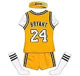 Bryant Lakers # 24 Kinder Basketball Jersey Westen Top Haarband Socken Shorts 5-teiliges Set,...