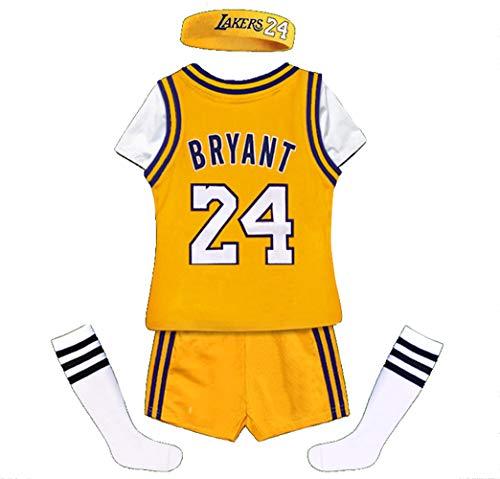 Bryant Lakers # 24 Kinder Basketball Jersey Westen Top Haarband Socken Shorts 5-teiliges Set, T-Shirt Sportswear Trainingsanzug Kinder Jungen Mädchen Baby-yellow-110
