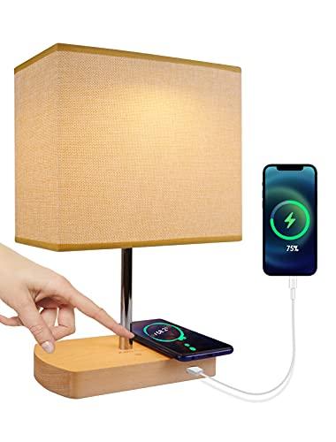 JOWHOL Nachttischlampe mit 15W Wireless Charger, Schlafzimmer Tischlampe Touch Dimmbar,LED Nachtlicht mit USB Port,Vintage Deko Lampe für Kinderzimmer,Wohnzimmer,Fensterbank