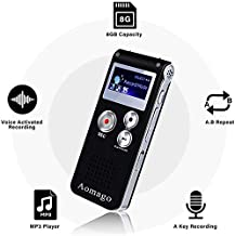 Digital Voice Recorder Voice Activated Recorder for Lectures, Meetings, Interviews Aomago 8GB Audio Recorder Mini Portable Tape Dictaphone with Playback, USB, MP3
