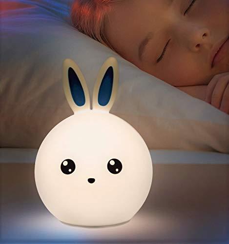 Nachttischlampe für Kinder, nachfüllbar, Hasenform, LED-Licht, Schneefräse, Nachtlicht für Kinder- und Babyzimmer, Silikon-Lampe, Touch-Lampe und Laptop, mit bunten Lichtern