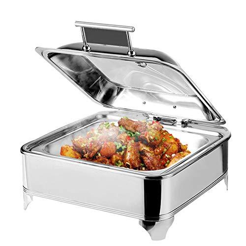 DBMGB Chafing Dish Chauffe-Plat en Acier Inoxydable 6L Buffets Chauffants Idéal pour Buffets Traiteurs Réceptions - Température Réglable (30-80 °)