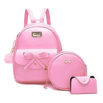 Alice Bowknot 3-Pieces Fahsion Leather Backpack Backpack Purse for Women Rucksack for Ladies Shoulder Bag//Rakhi gift for Sister
