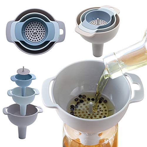 SOLOM 4-in-1 Funnels Set Oil Funnel Strainer Detachable Oil Water Wine Liquid Transferring Funnels Set with Handle
