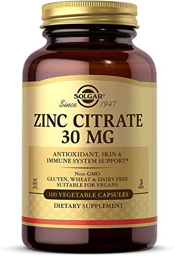 Solgar Zinc Citrate 30 mg, 100 Vegetable Capsules - Zinc for Healthy Skin, Taste & Vision - Immune System & Antioxidant Support - Citrate Form for Optimal Absorption - Non GMO, Vegan - 100 Servings